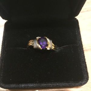 Jewelry - New 18K Gold, Platinum Diamond and Amethyst Ring